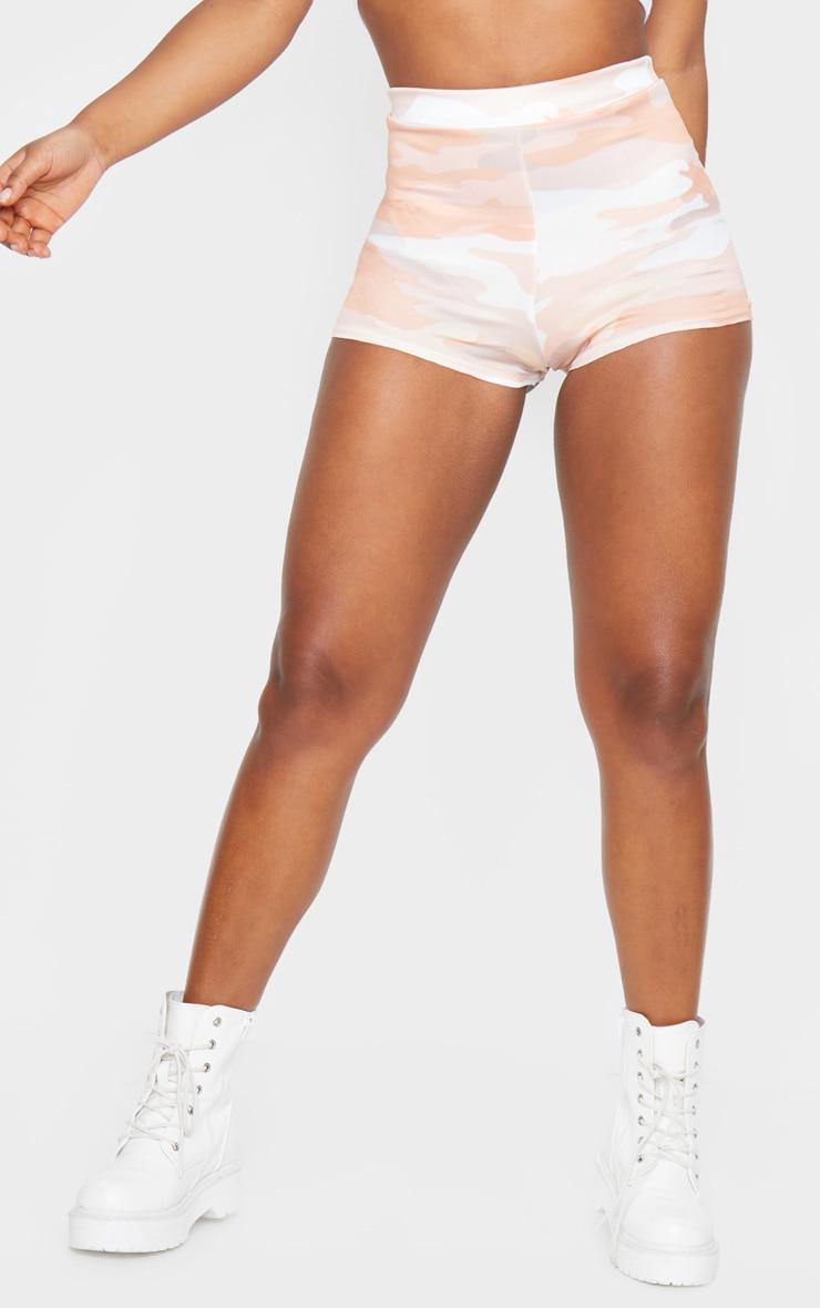 Nude Camo Print Jersey High Waisted Hot Pants 2