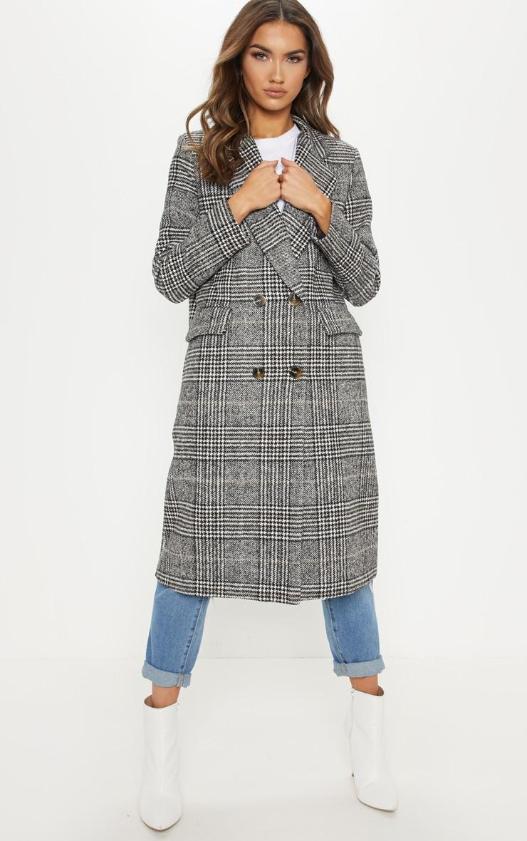 Black Oversized Check Coat 4