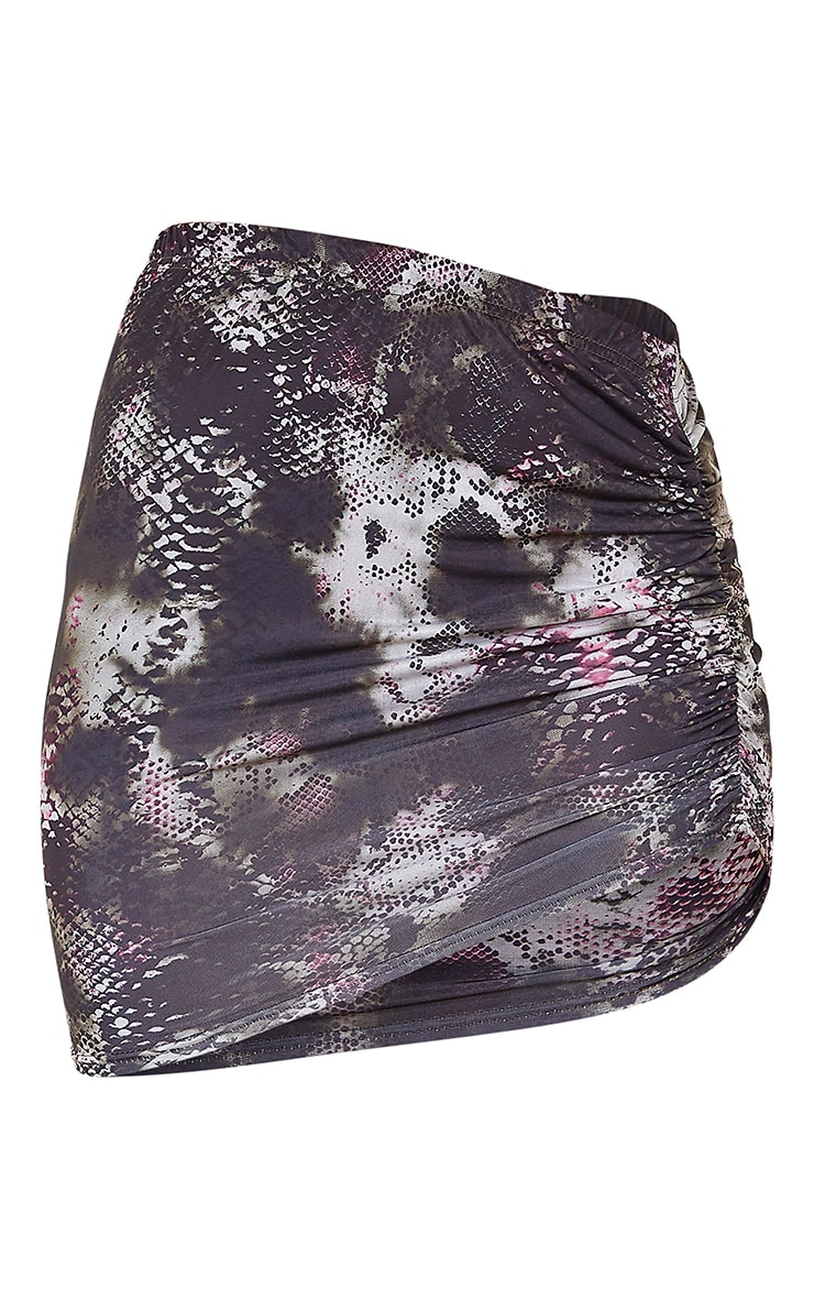 Black Print Slinky Ruched Side Mini Skirt 5