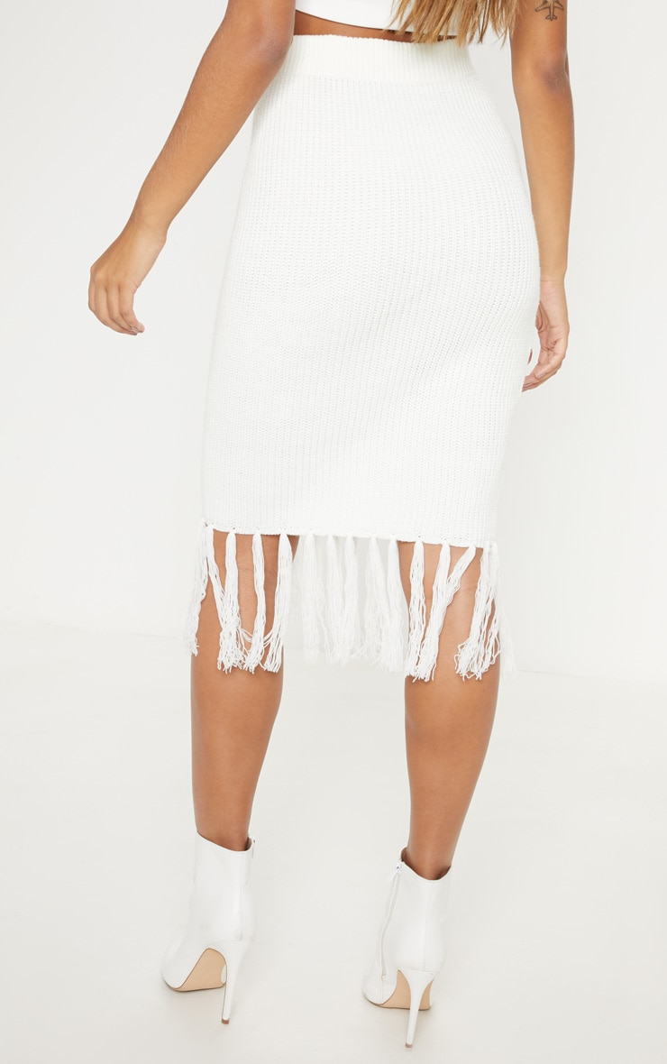 Cream Tassel Hem Knitted Midi Skirt  4