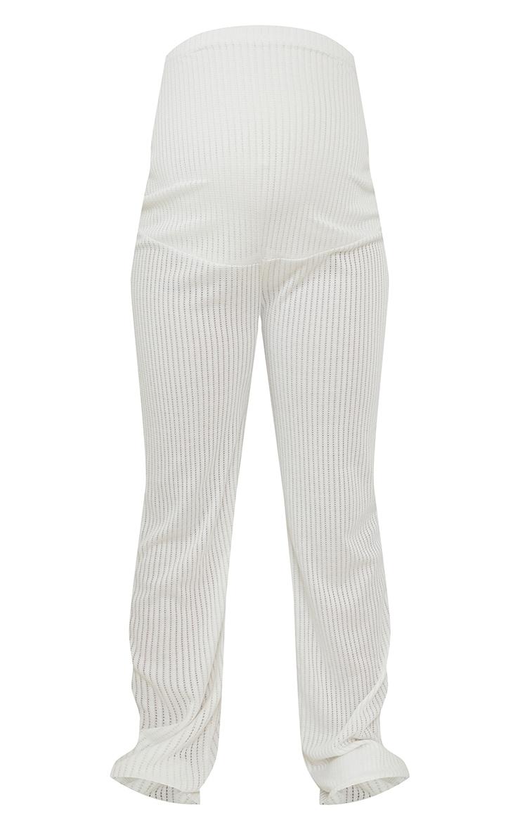 Maternity White Pointelle Wide Leg Pants 5