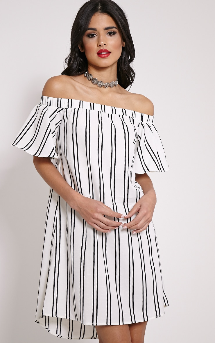 Lexi White Stripe Bardot Mini Dress 1
