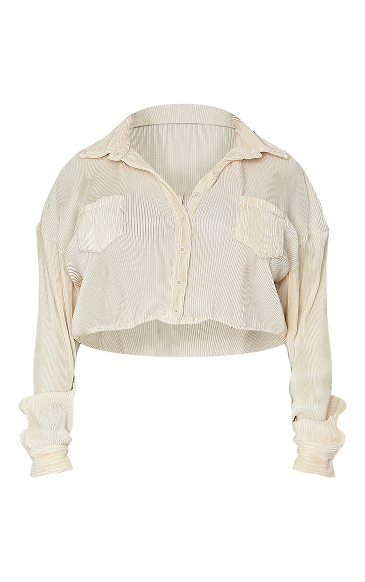 Plus Cream Plisse Oversized Cropped Shirt 5