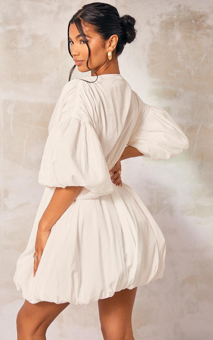 White Puff Sleeve Puffball Hem Shift Dress 2