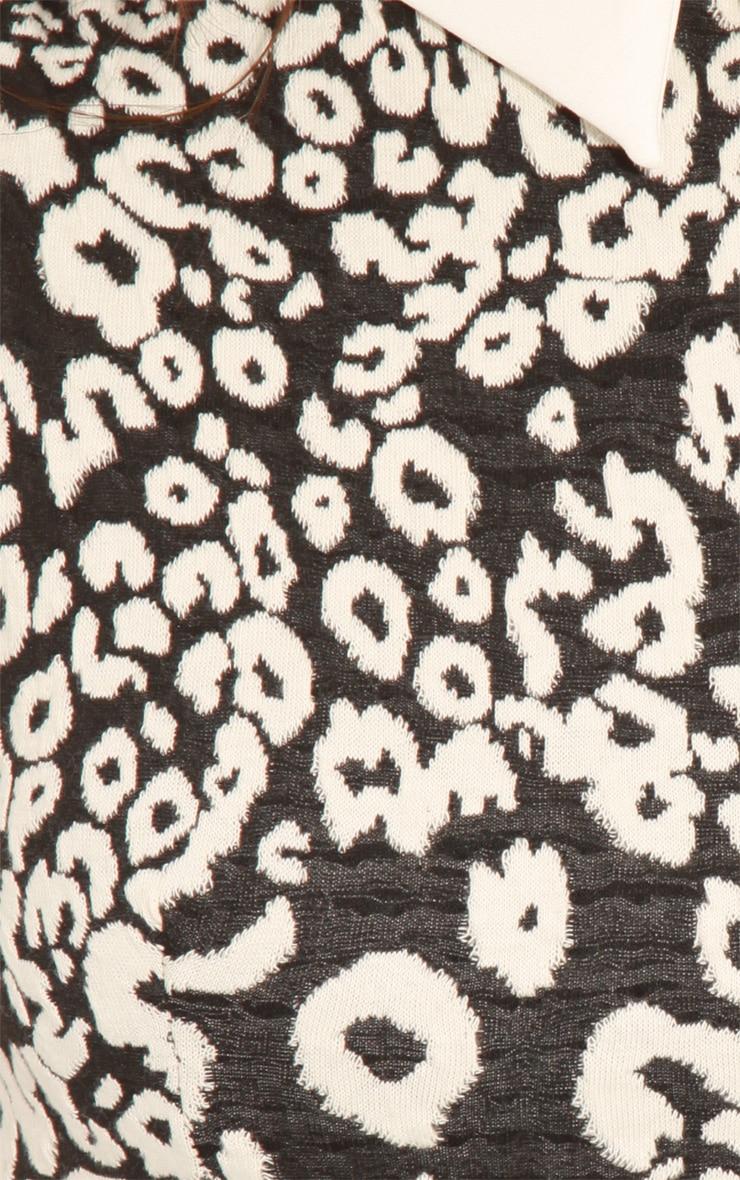 Parma Black & White Leopard Collar Skater Dress 5