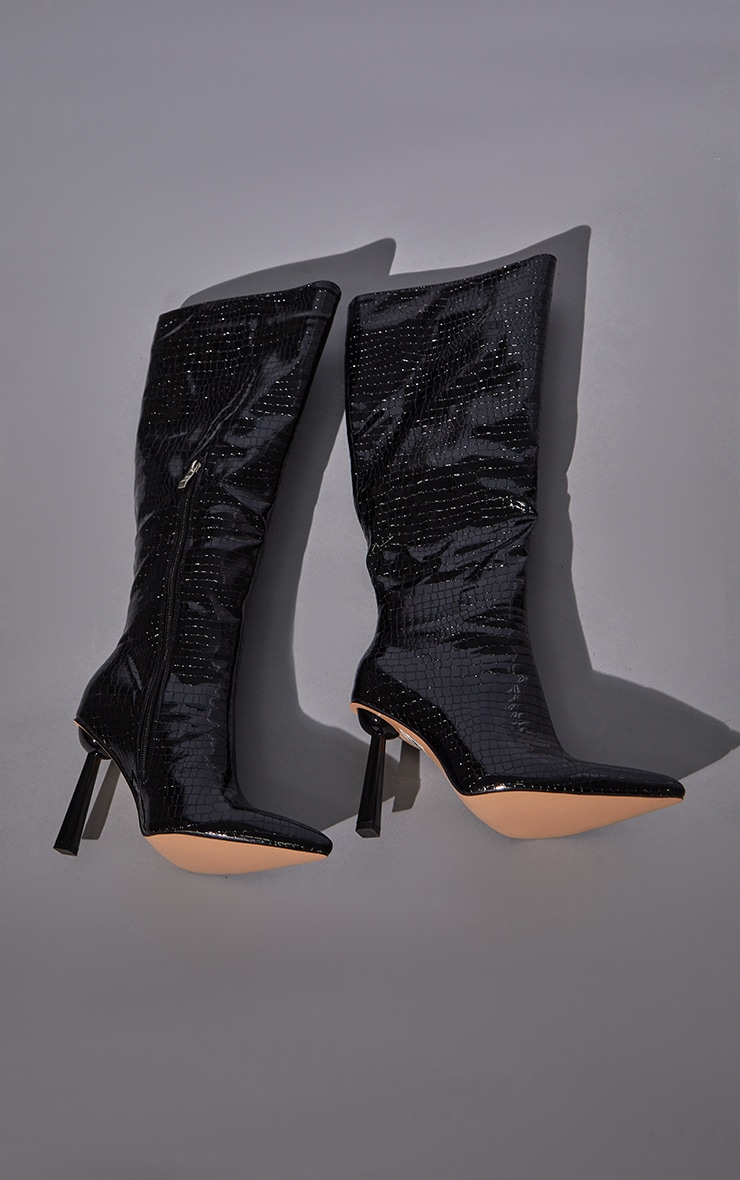 Black PU Croc Pointed Knee Boots 3