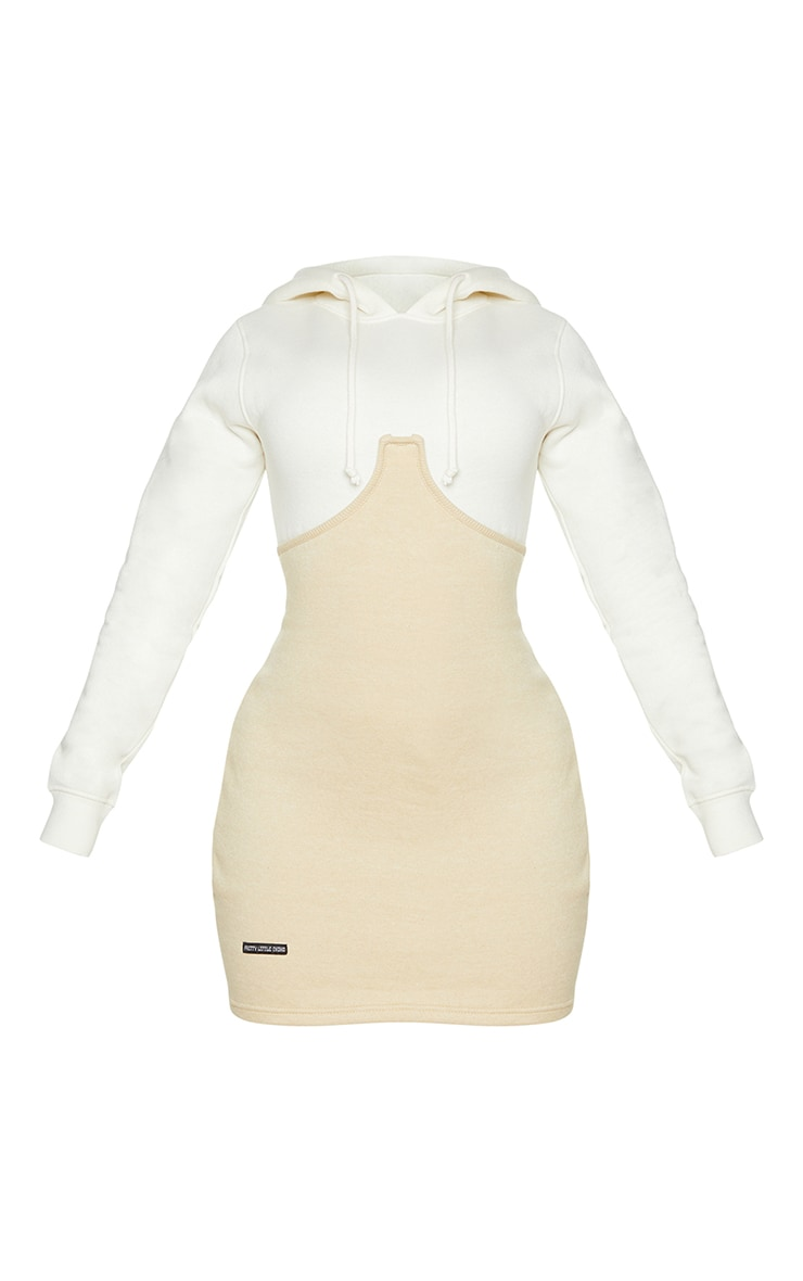 Shape Cream Underbust Detail Hooded Sweatshirt Dress 5