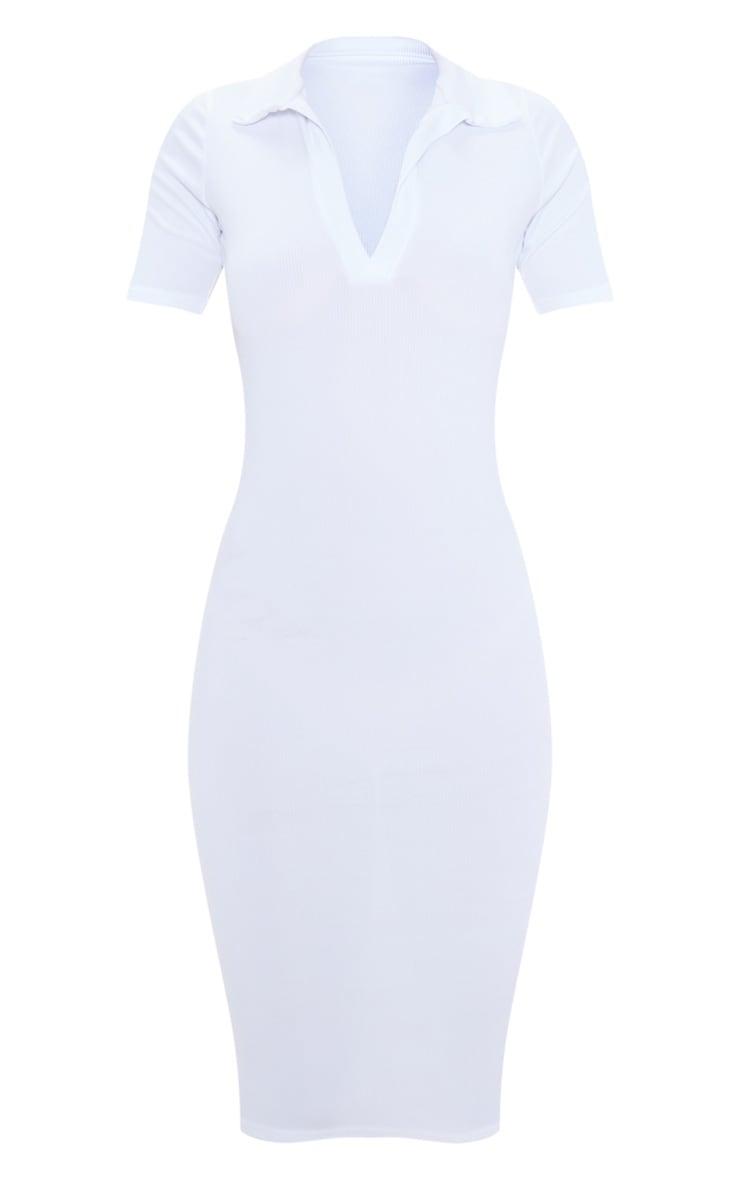 White Ribbed Midi Polo Dress 3