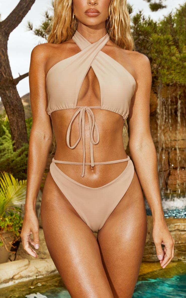 Sand Cut Out Front High Leg Bikini Bottoms 1