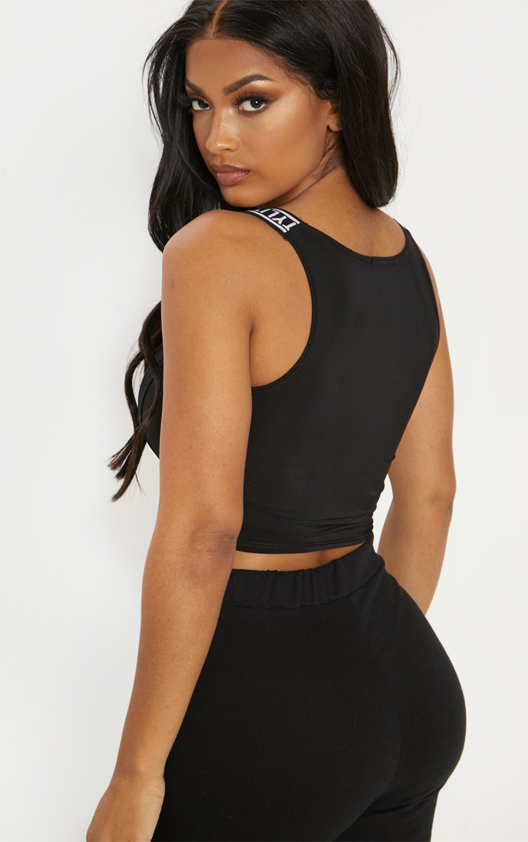 PRETTYLITTLETHING Shape Black Slinky Corset Crop Top 2