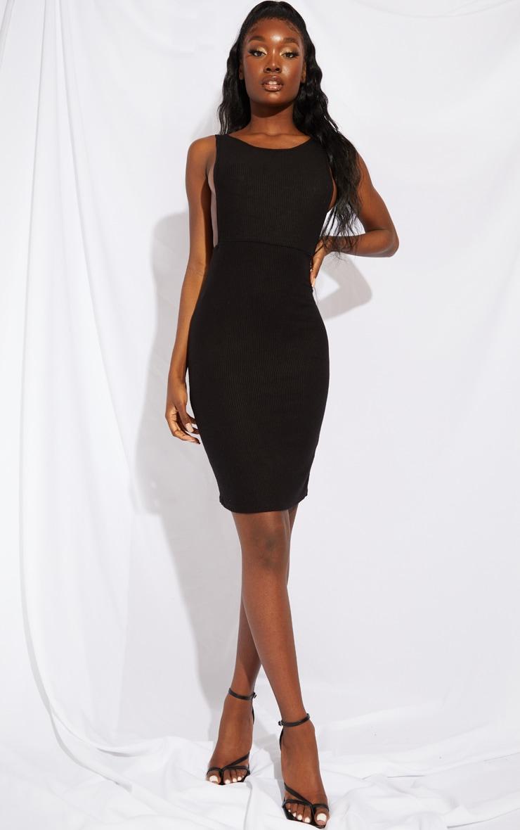 Tall Black Open Side Midi Dress 1