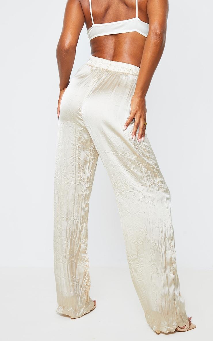 Cream Crinkle Effect Wide Leg Pants 3