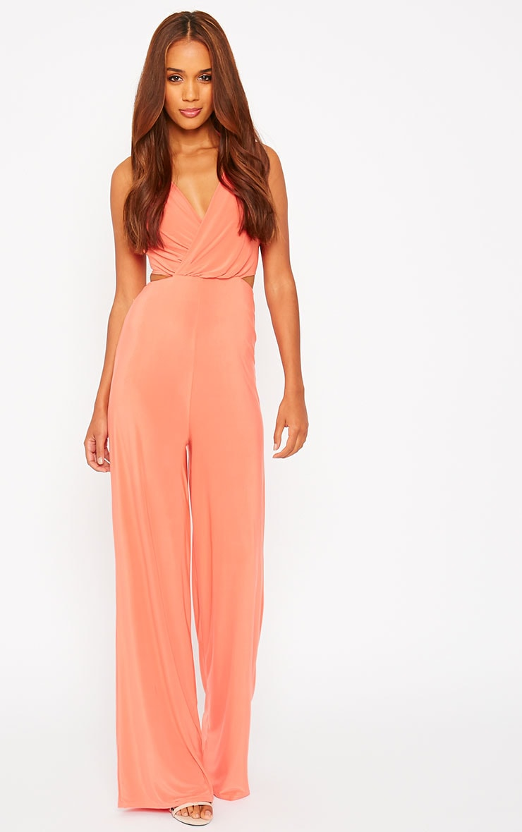 Tullia Orange Slinky Cross Front Wide Leg Jumpsuit 3