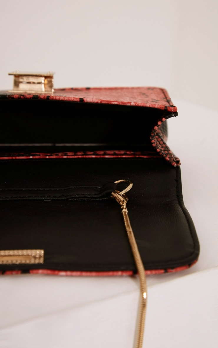 Harriet Red Snake Print Shoulder Bag 5