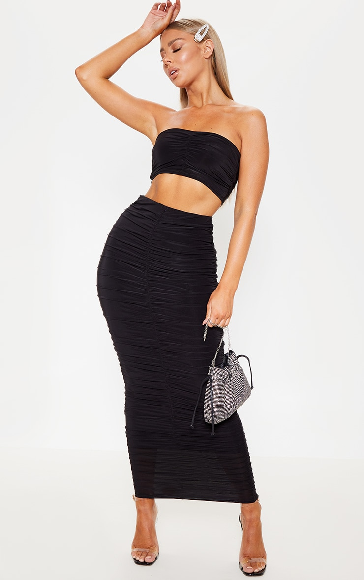Black Slinky Ruched Detail Midaxi Skirt 1