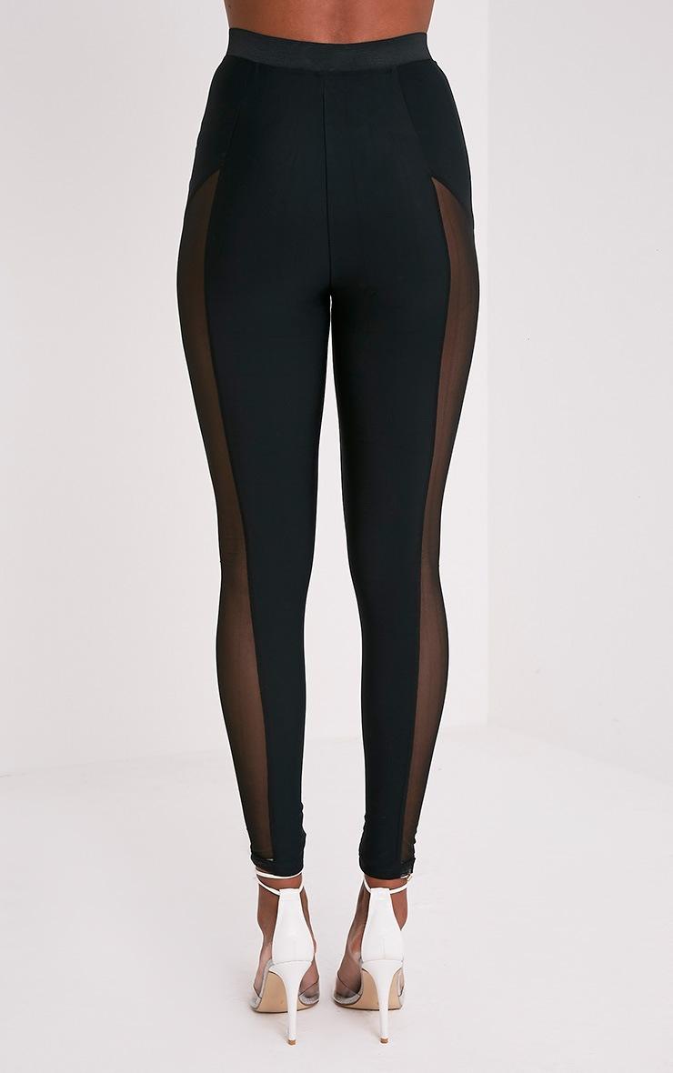 Safiya leggings noirs à empiècements transparents à agrafes 6