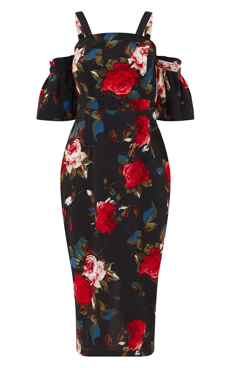 Black Floral Cold Shoulder Midi Dress 3