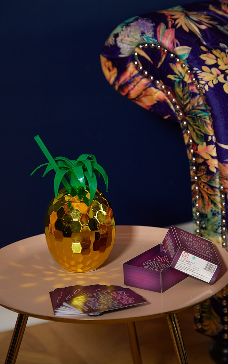 Gold Pineapple Cocktail Cup & Straw 2