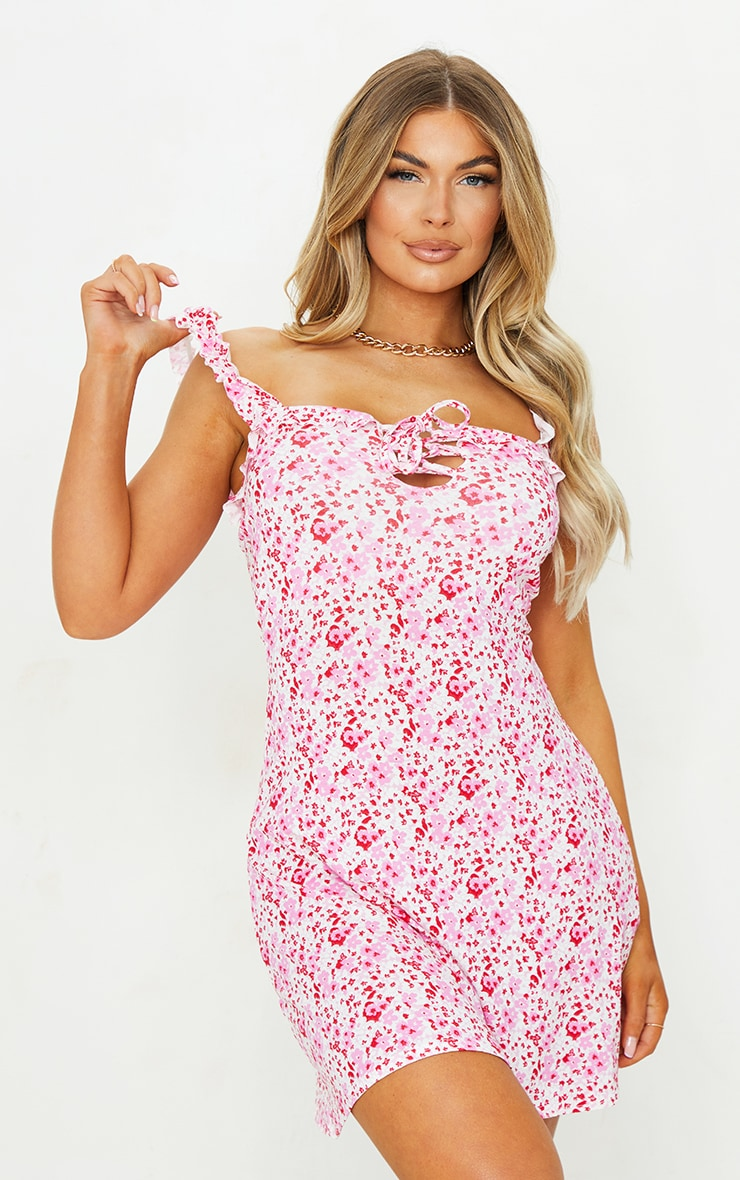 Pink Ditsy Print Frill Detail Shift Dress 1