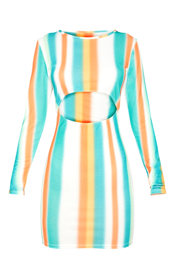 Multi Stripe Under Boob Long Sleeve Bodycon Dress 3