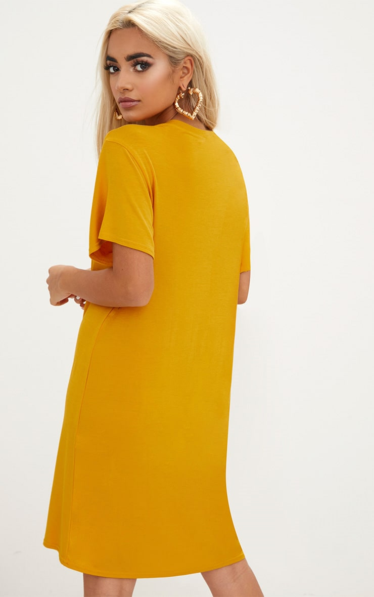 Basic Mustard Short Sleeve Tshirt Dress 2