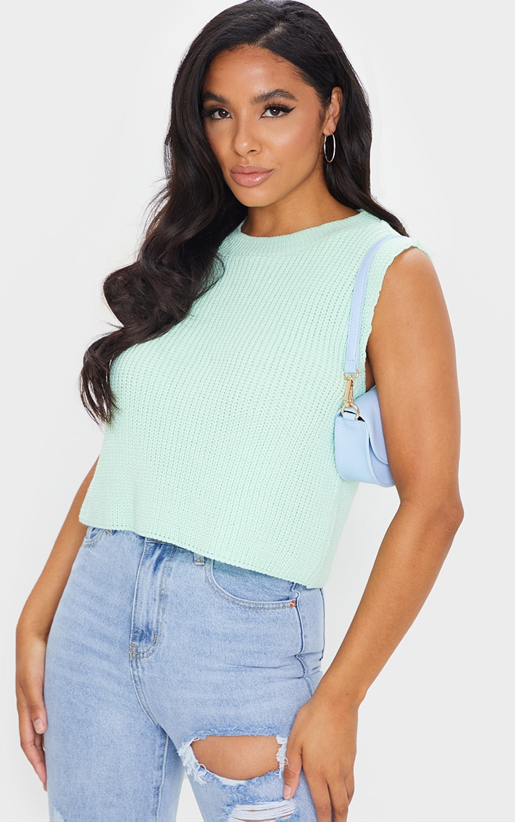 Mint Sleeveless Slouchy Knitted Vest 1