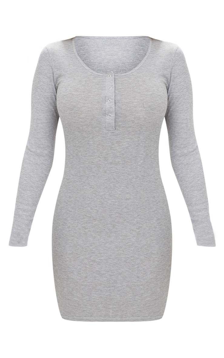 Grey Ribbed Long Sleeve Popper Front Dress 3