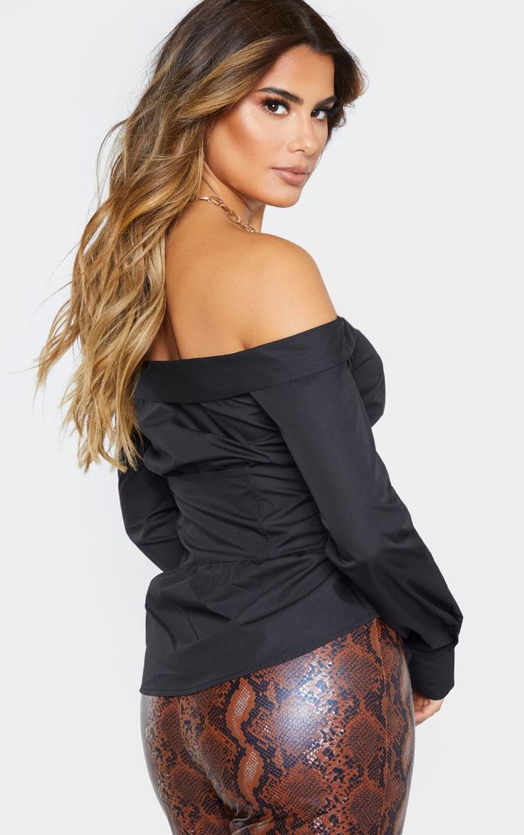 Tall - Top boutonné noir à détail corset 2