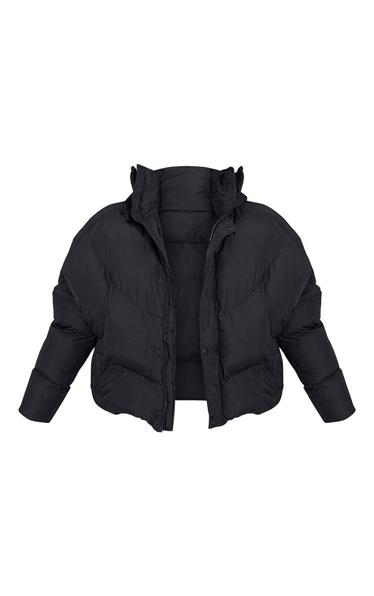 Petite Black Nylon Oversized Curved Panel Wadded Puffer Jacket 5