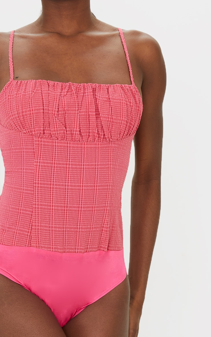 Tall Neon Pink Ruched Strappy Bodysuit 4