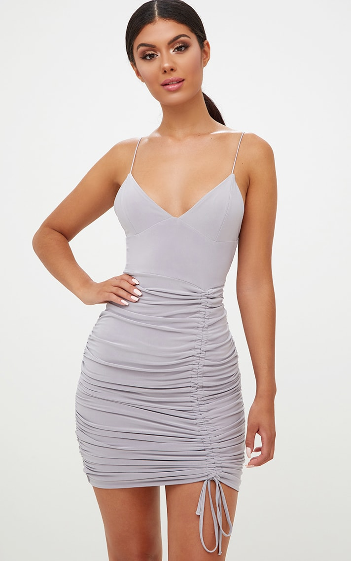 Ice Grey Strappy Plunge Ruched Tie Bodycon Dress 2