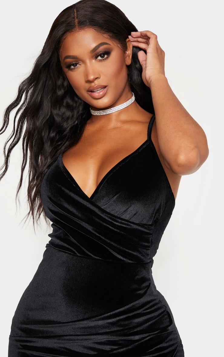 Shape Black Velvet Strappy Wrap Bodycon Dress 5