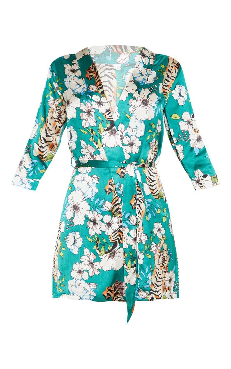 Emerald Tiger Blossom Satin Robe 3