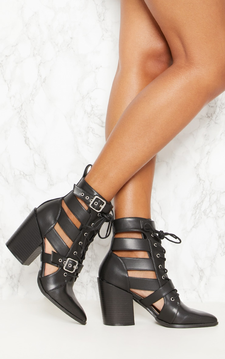 Black Cut Out Heel Boot