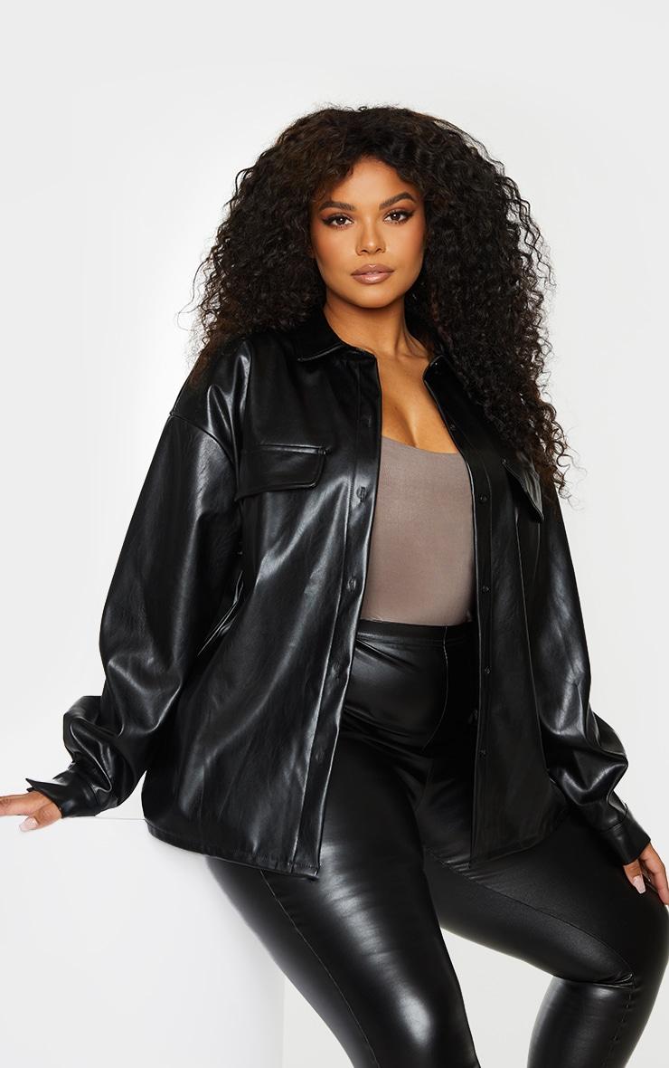 Plus Black PU Oversized Shirt 1
