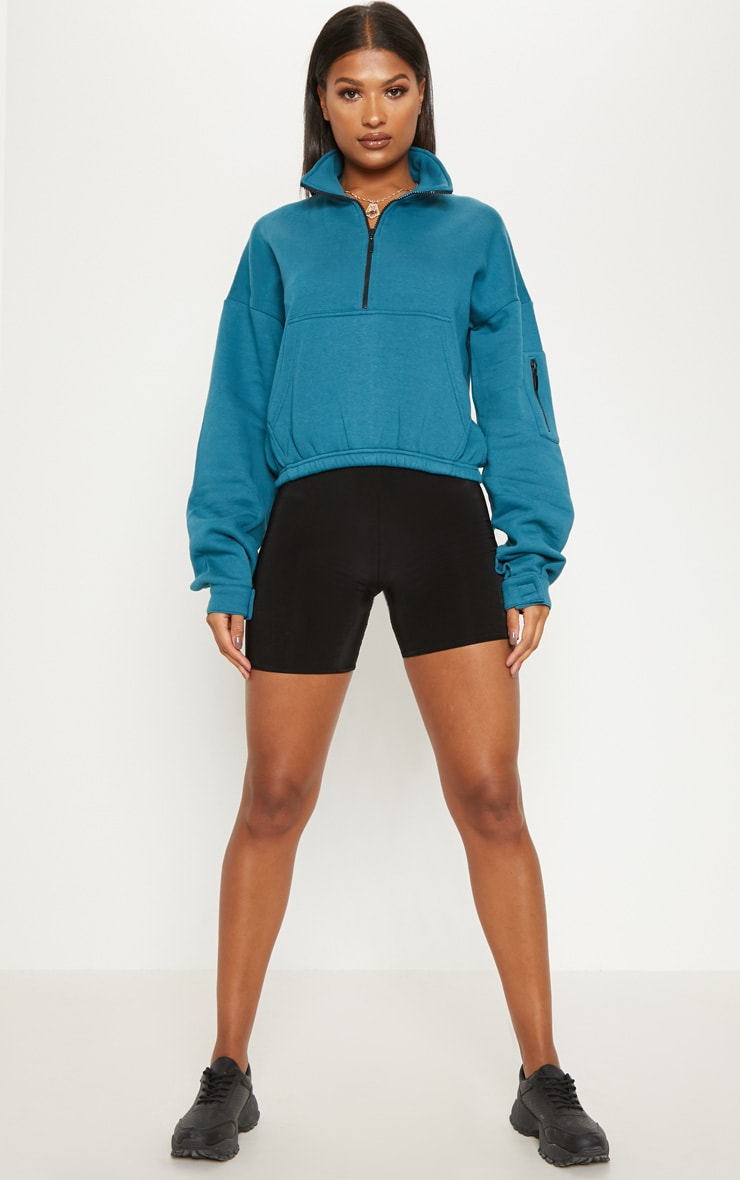 Sweat oversized bleu à zip frontal 4