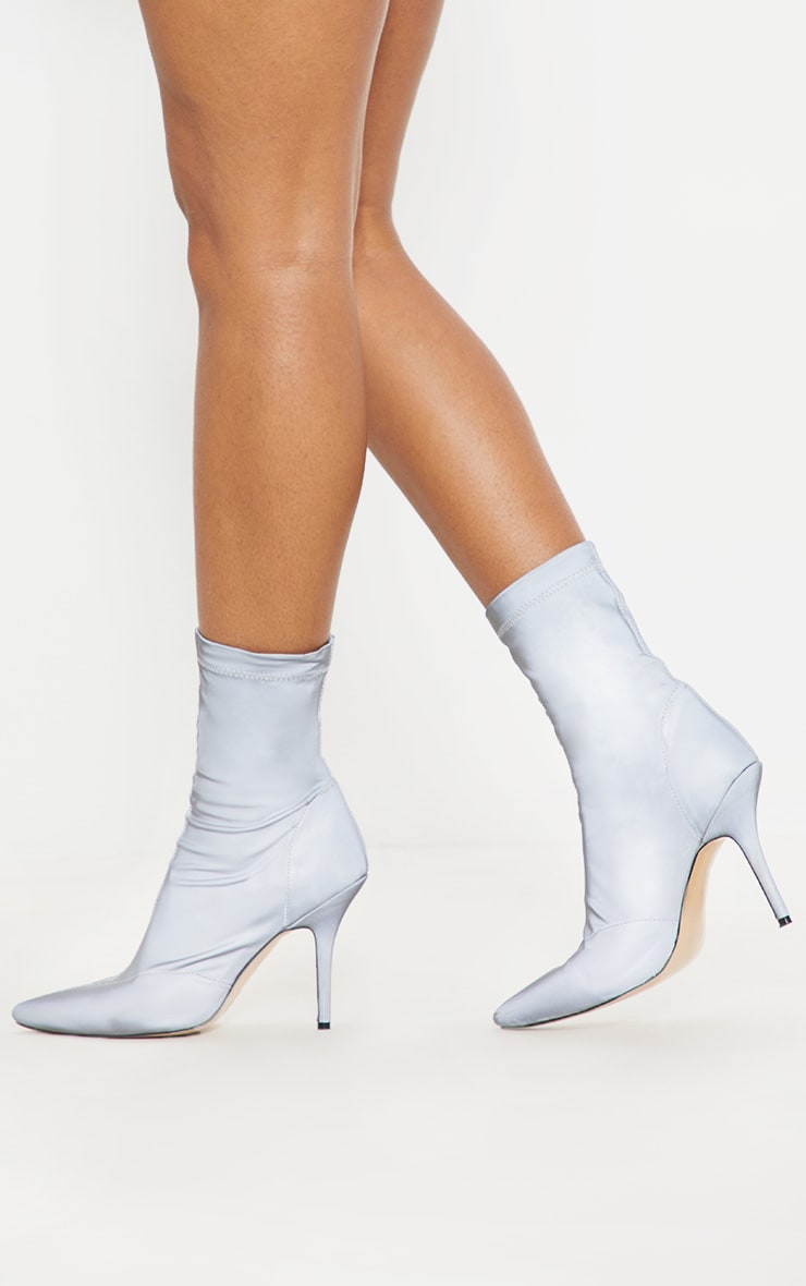 Grey Reflective Neoprene Heeled Sock Boot 1