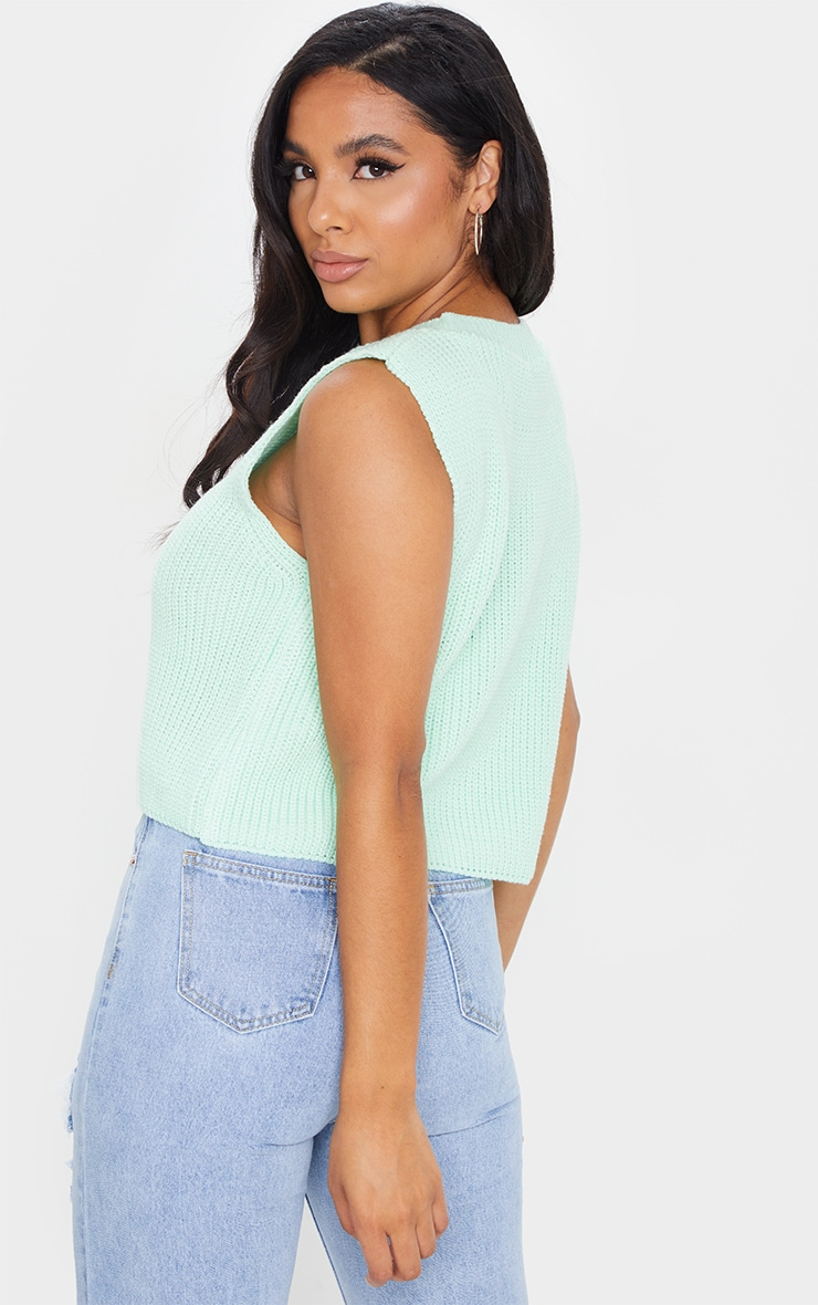 Mint Sleeveless Slouchy Knitted Vest 2
