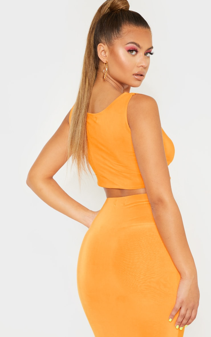 Hot Orange Slinky Square Neck Sleeveless Crop Top  2