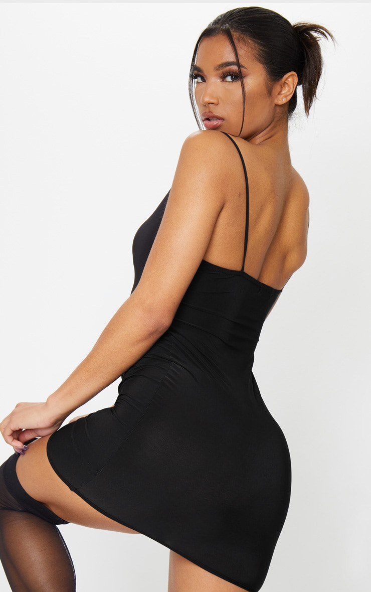 Basic Black Slinky Spaghetti Strap Bodycon Dress 2