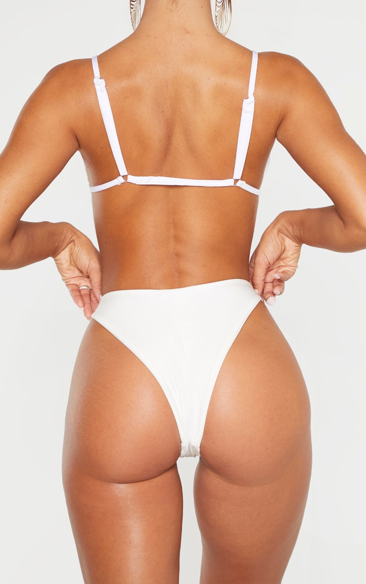 White Mix & Match Super High Leg Brazilian Bikini Bottom 3