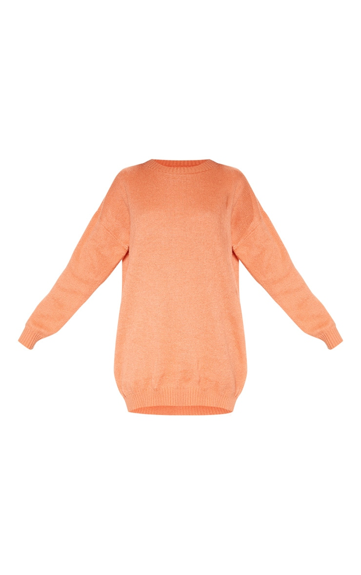 Orange Oversized Knitted Jumper Dress  3