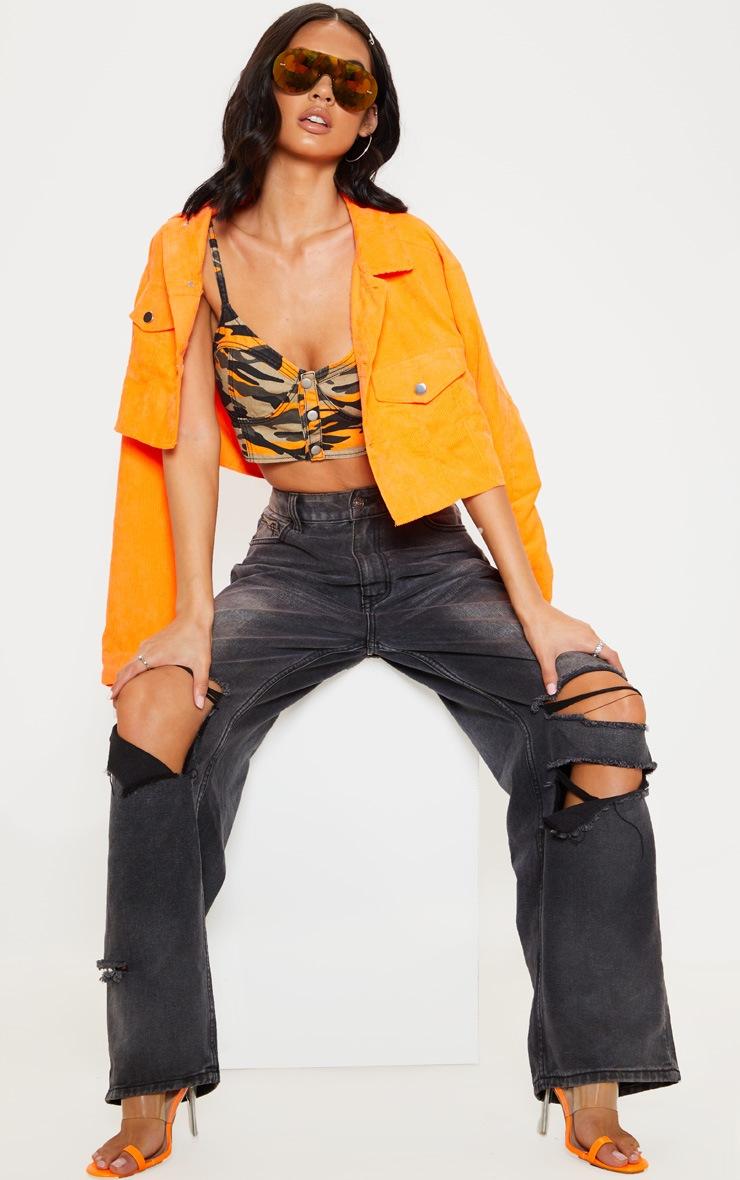 Orange Camo Denim Bralet  4