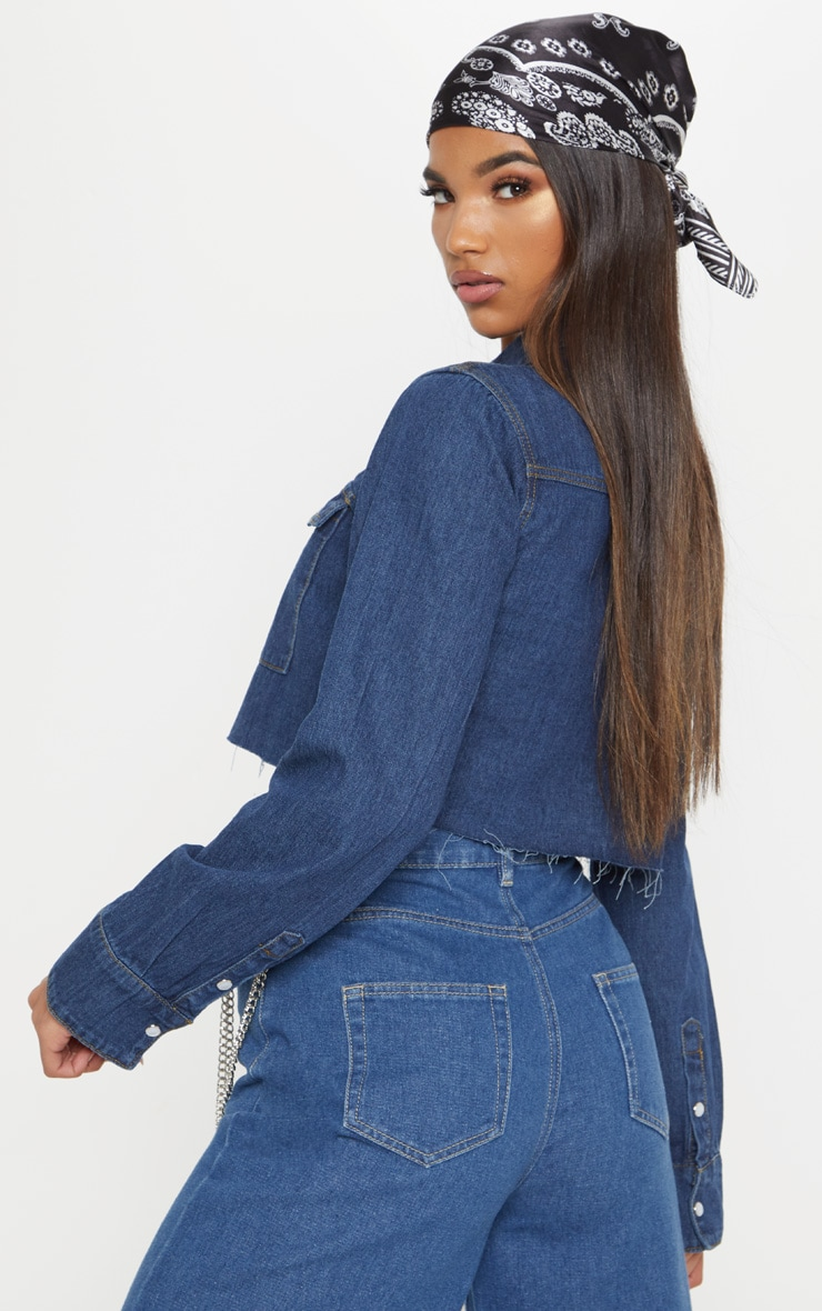 Dark Blue Cropped Denim Shirt  2