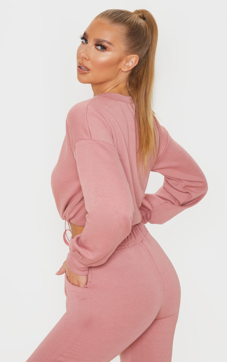 Dusty Pink Basic Gym Sweat Top 2