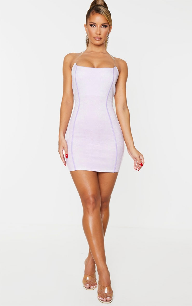 Lilac Croc Print Binded Detail Clear Strap Bodycon Dress 3