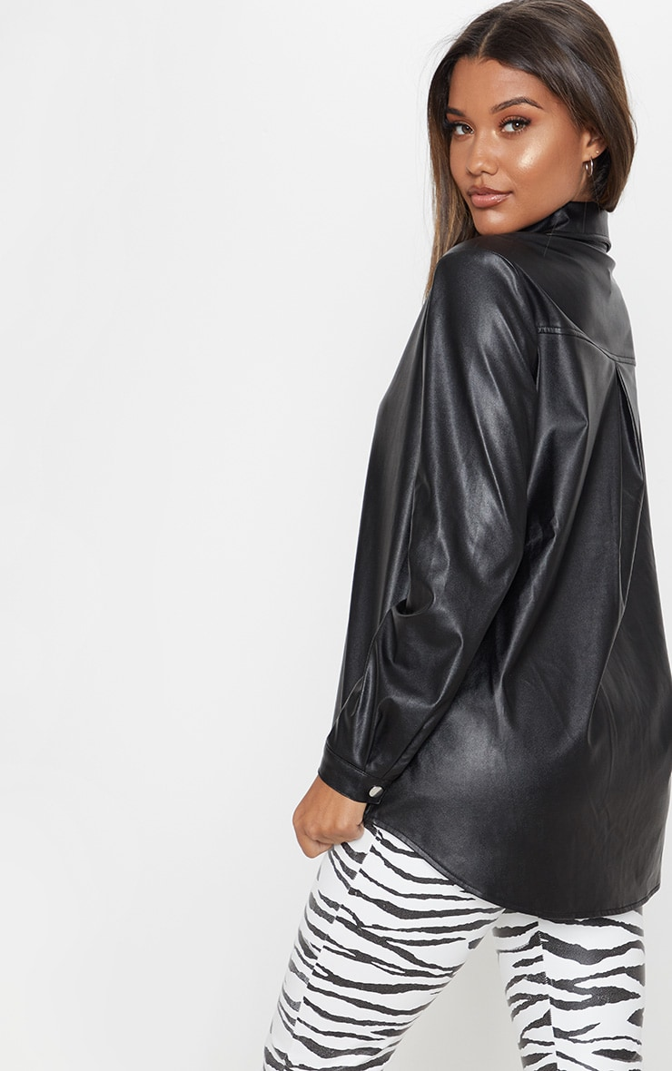 Black Faux Leather Oversized Shirt 2