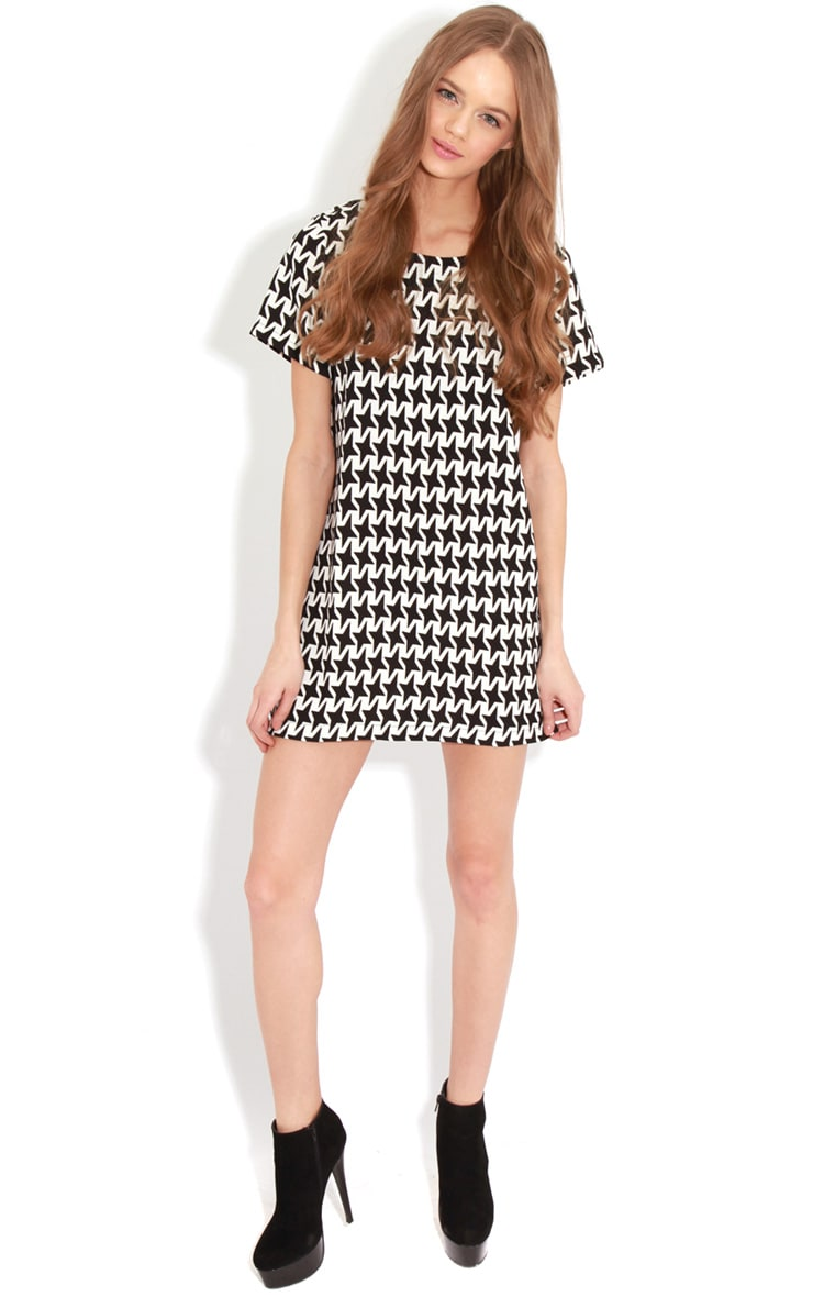 Kat Monochrome Exaggerated Dogtooth Dress 3