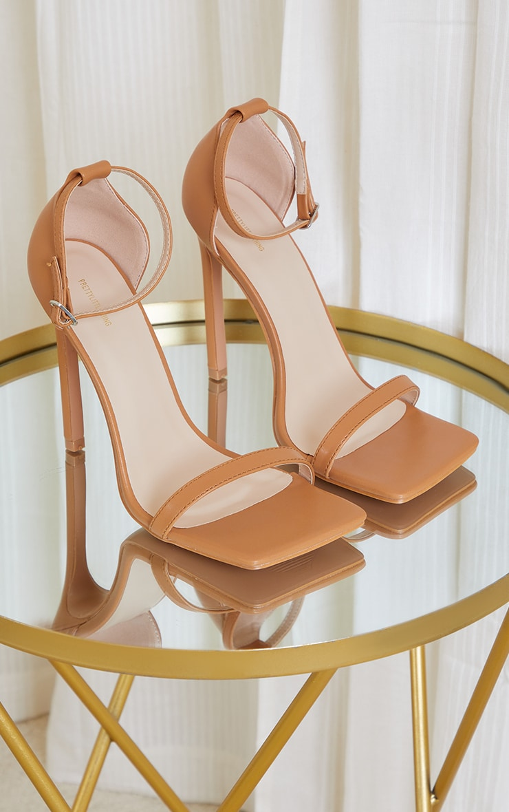 Tan Clover Barely There Strappy Squared Toe Heeled Sandals 3