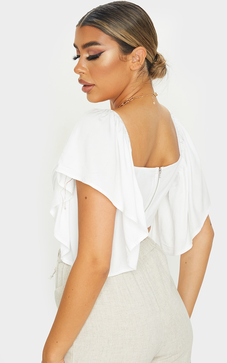 White Woven Short Sleeve Crop Top 2